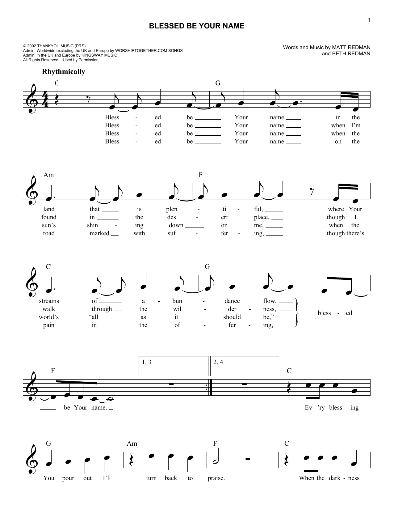 Sheet music digital files to print licensed beth redman digital blessed be your name hexwebz Images