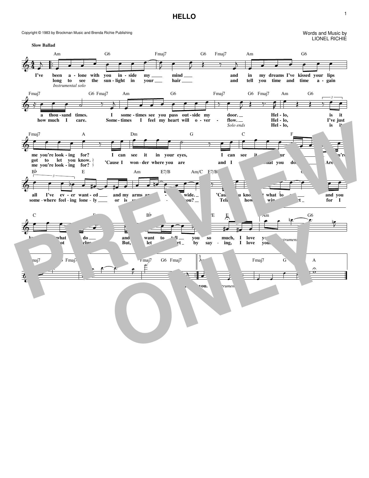 easy lionel richie sheet music pdf