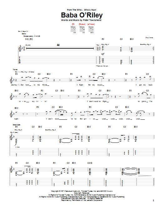 Tablature guitare Baba O'Riley de The Who - Tablature Guitare