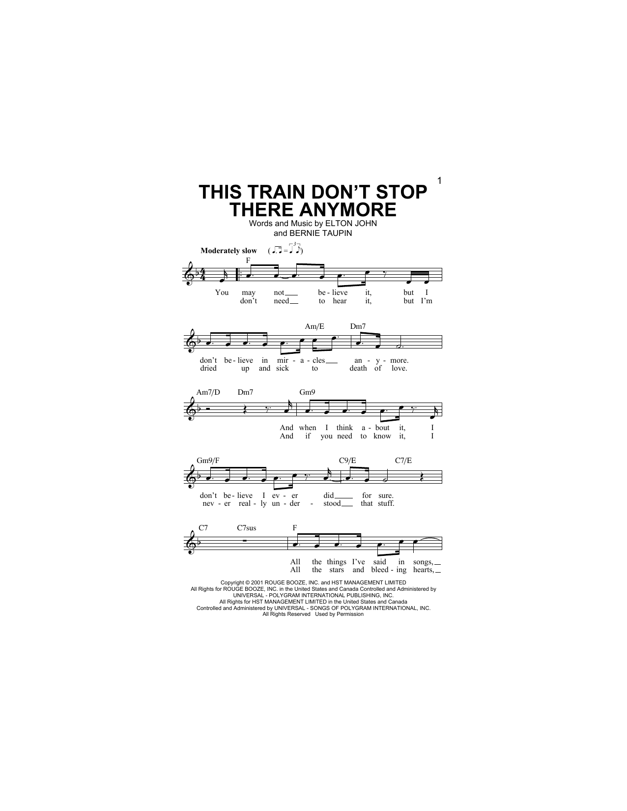 Sheet music digital files to print licensed bernie taupin this train dont stop there anymore hexwebz Gallery
