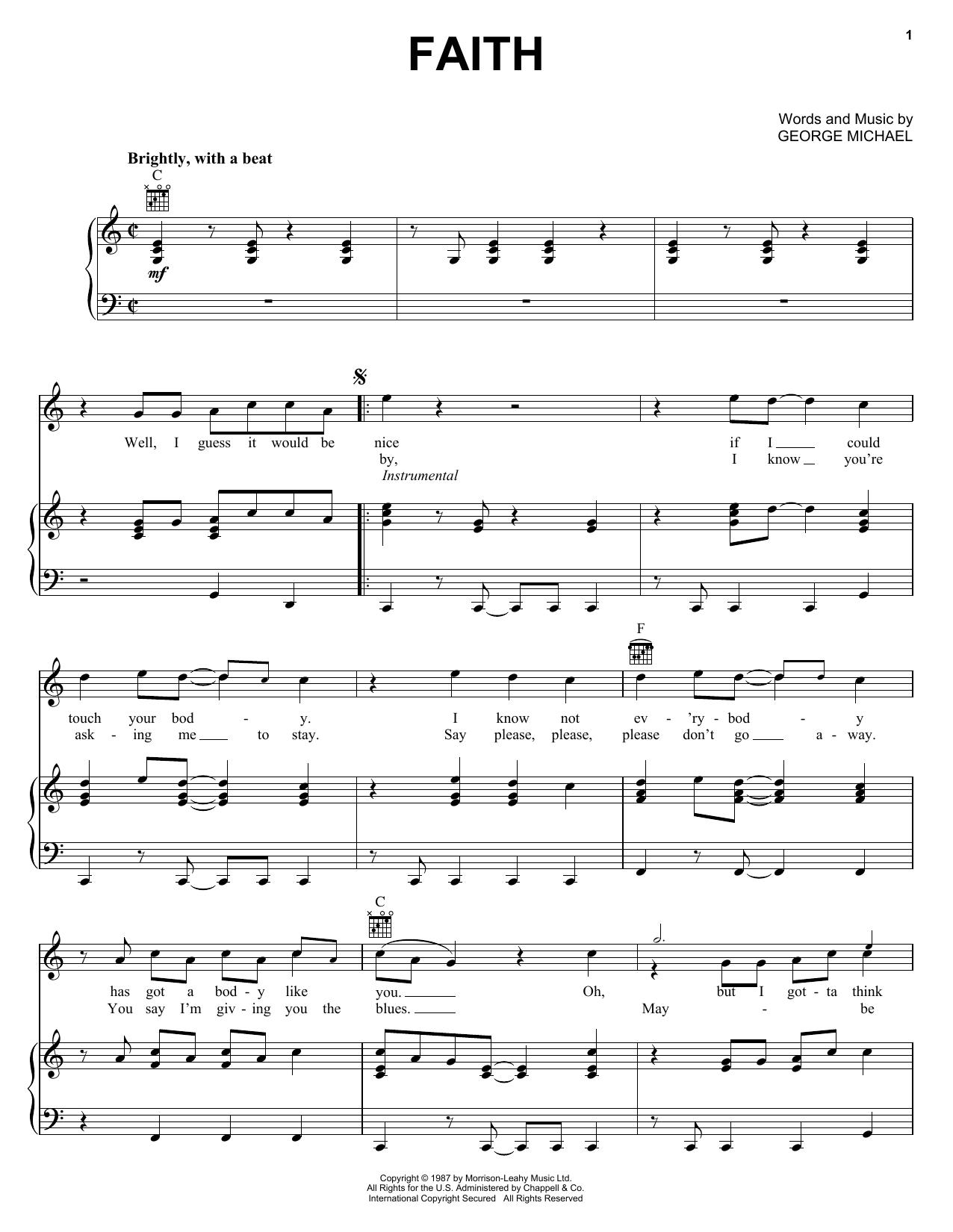 Partition piano Faith de George Michael - Piano Voix Guitare (Mélodie Main Droite)