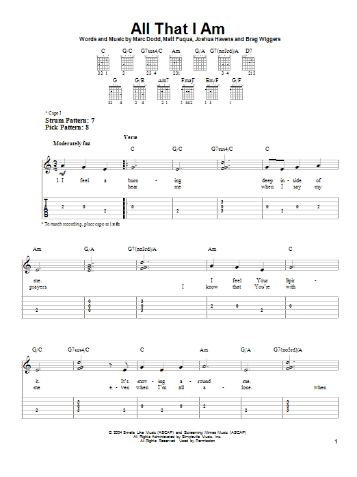 All That I Am sheet music for guitar solo (easy tablature) by The Afters