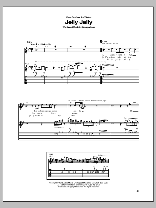 Jelly Jelly sheet music for guitar solo (tablature) by Allman Brothers Band