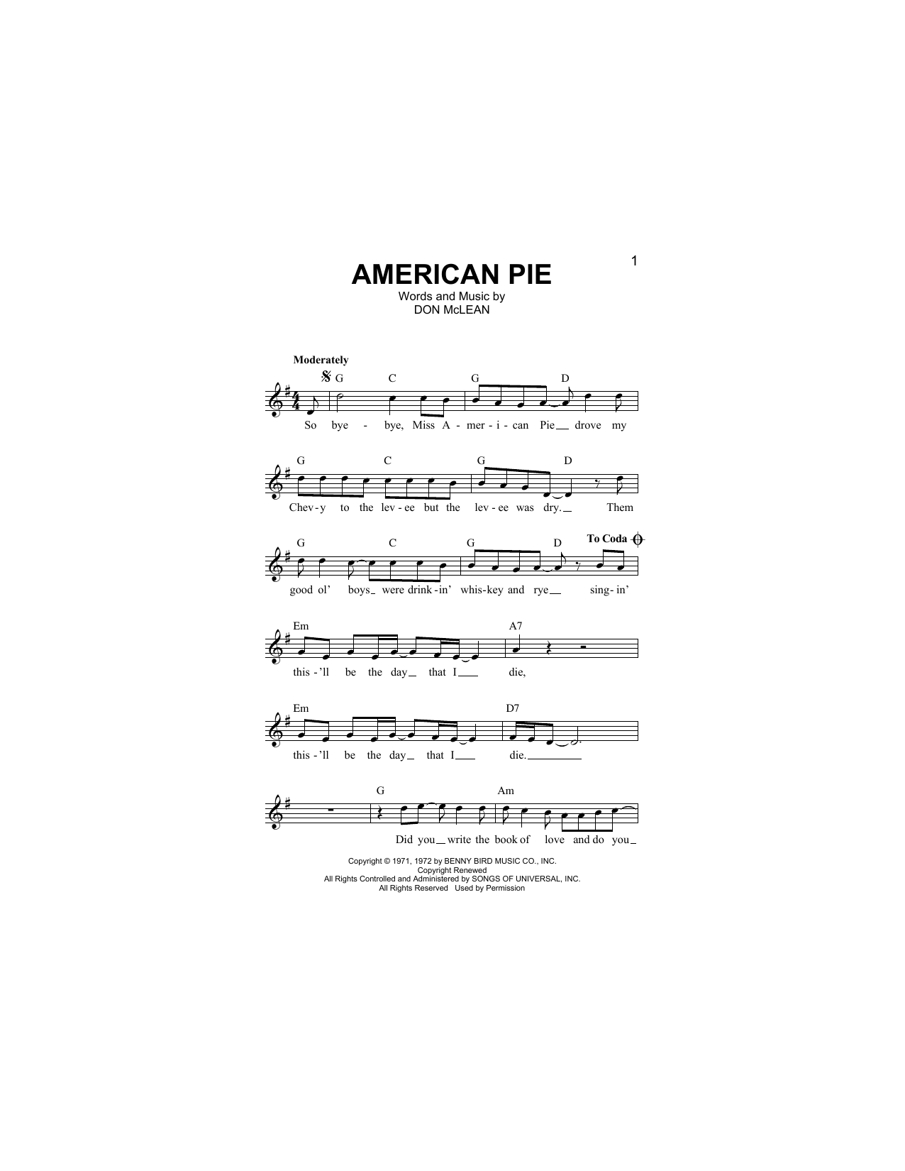 Sheet music digital files to print licensed don mclean digital american pie hexwebz Gallery
