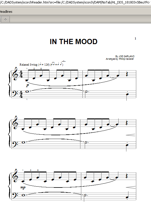 Partition piano In The Mood de Phillip Keveren - Piano Facile