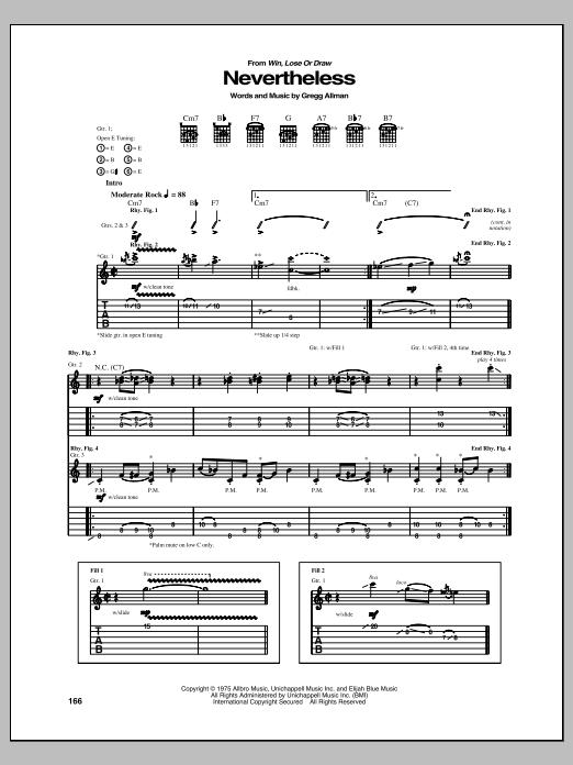 Tablature guitare Nevertheless de Gregg Allman - Tablature Guitare
