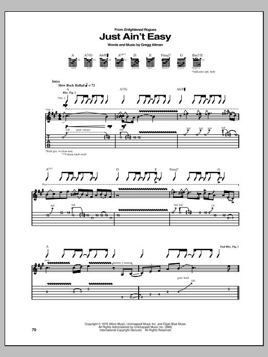 Tablature guitare Just Ain't Easy de Gregg Allman - Tablature Guitare