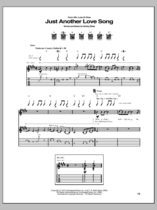 Tablature guitare Just Another Love Song de Dickey Betts - Tablature Guitare