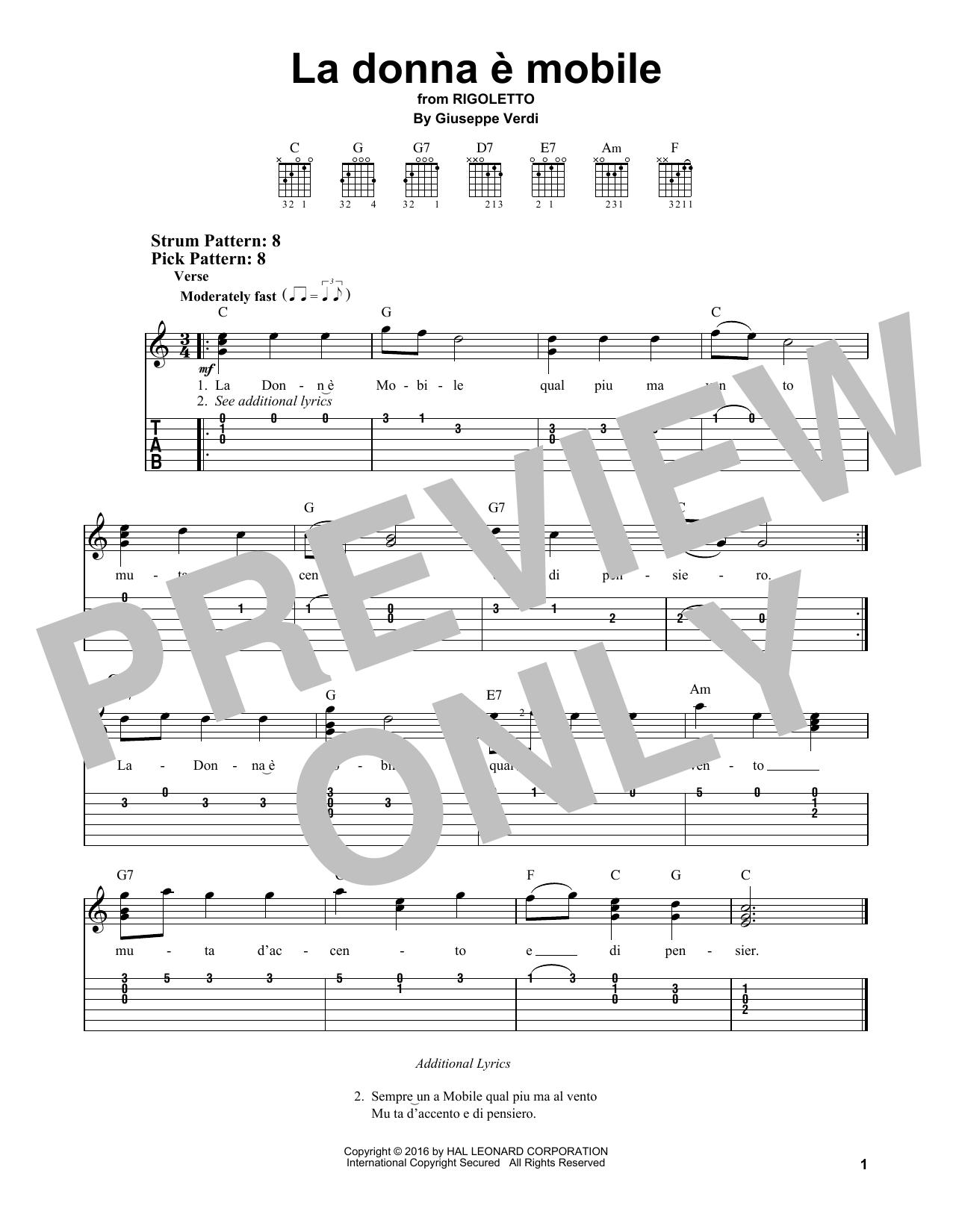 Tablature guitare La donna e mobile de Giuseppe Verdi - Tablature guitare facile