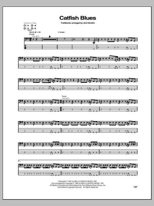 Tablature guitare Catfish Blues de Jimi Hendrix - Tablature Basse