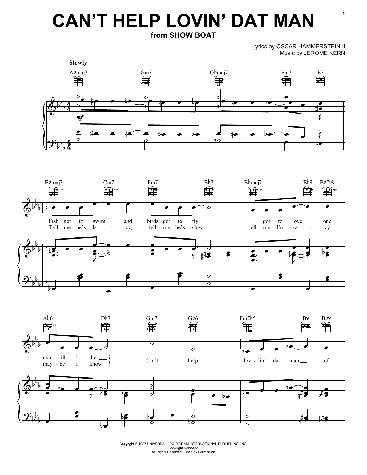 Partition piano Can't Help Lovin' Dat Man de Jerome Kern - Piano Voix Guitare (Mélodie Main Droite)