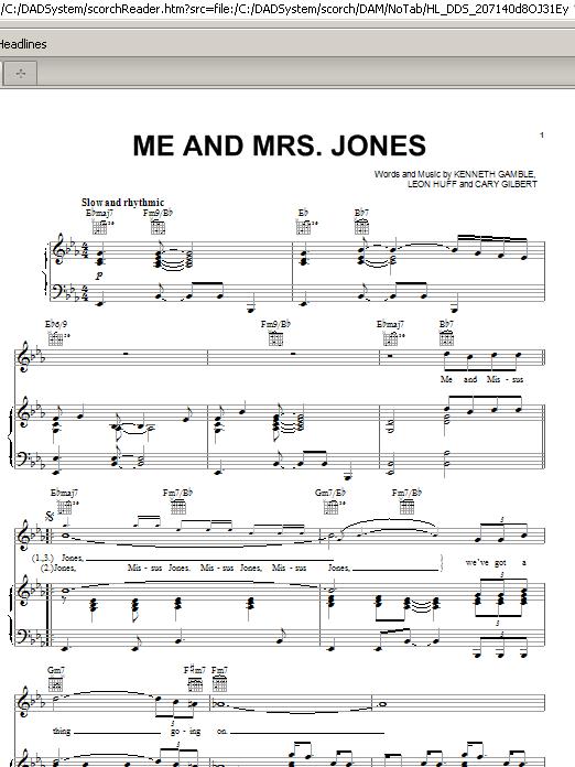 Partition piano Me And Mrs. Jones de Michael Buble - Piano Voix Guitare (Mélodie Main Droite)