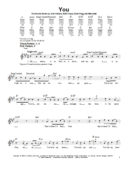 You sheet music for guitar solo (chords) by The Afters