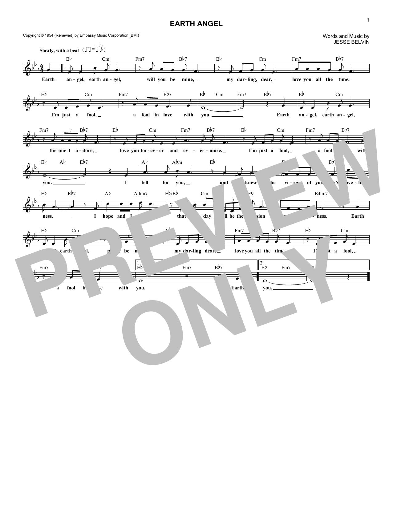 Sheet music digital files to print licensed jesse belvin digital earth angel hexwebz Images