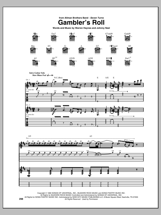 Tablature guitare Gambler's Roll de Allman Brothers - Tablature Guitare