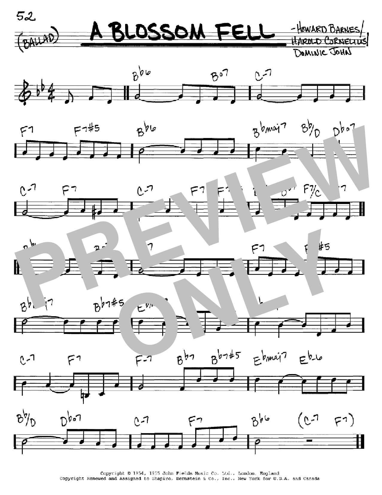 A Blossom Fell sheet music for voice and other instruments (C) by Howard Barnes
