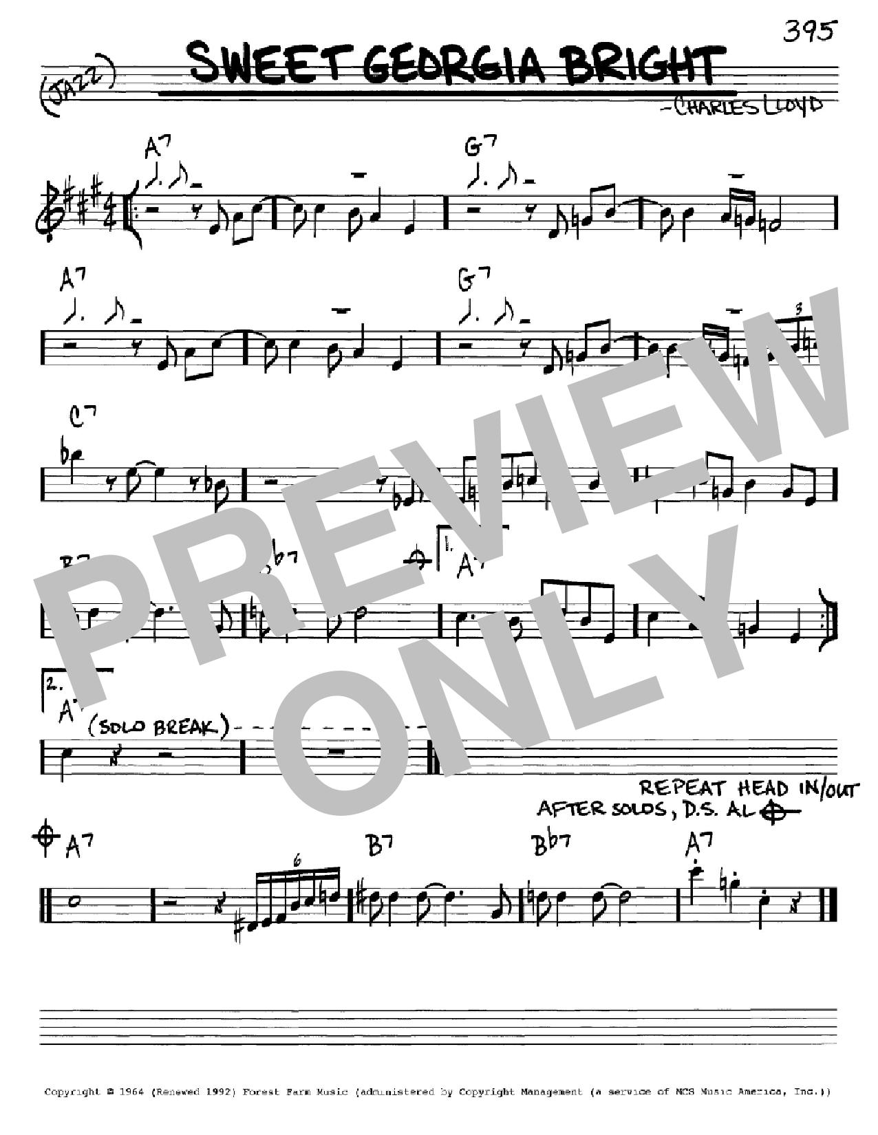 Partition autre Sweet Georgia Bright de Charles Lloyd - Real Book, Melodie et Accords, Inst. En Mib
