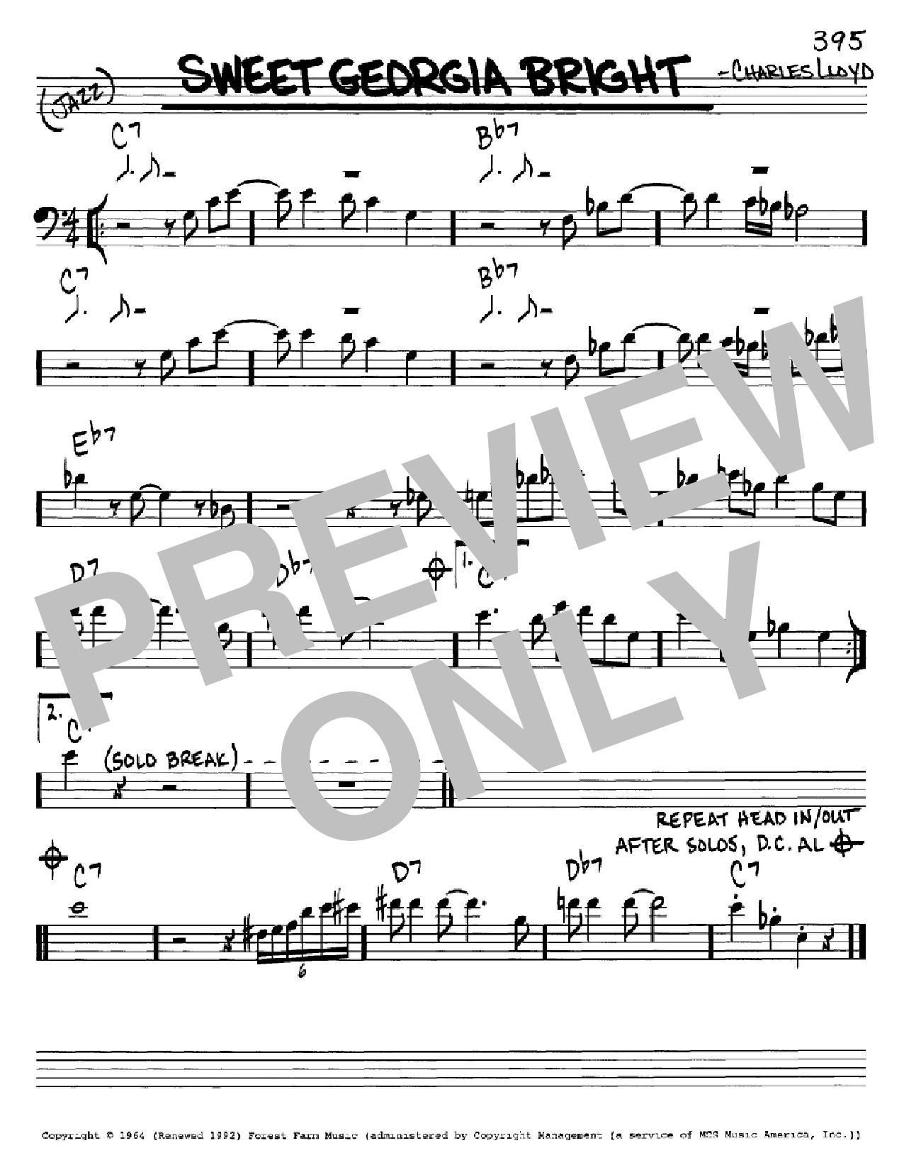Partition autre Sweet Georgia Bright de Charles Lloyd - Real Book, Melodie et Accords, Inst. En cle de Fa