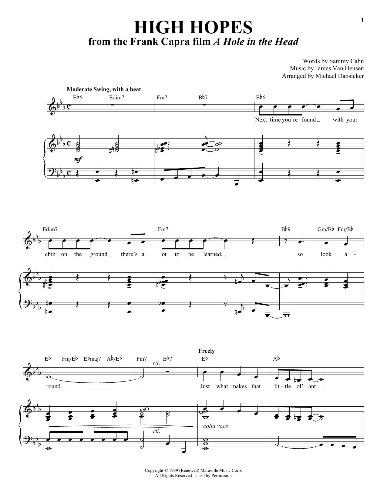Partition piano High Hopes de Sammy Cahn - Piano Voix