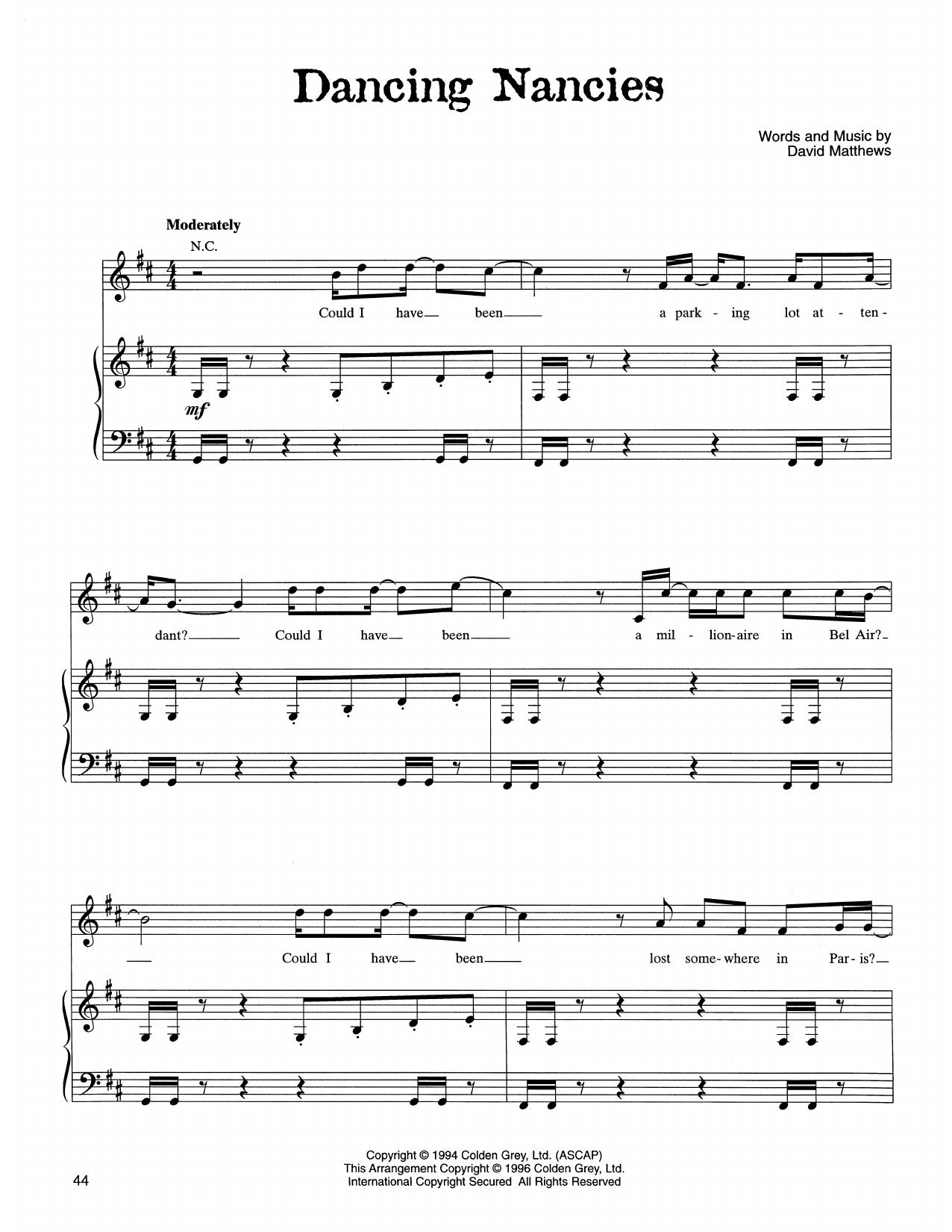 Partition piano Dancing Nancies de Dave Matthews Band - Piano Voix Guitare (Mélodie Main Droite)