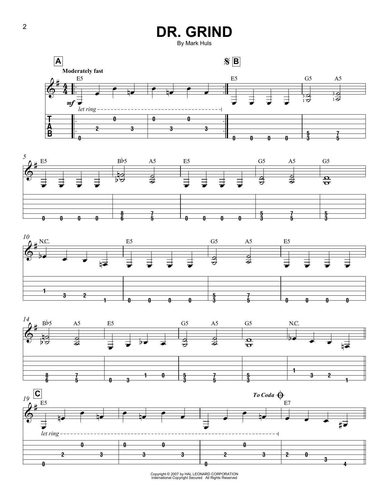 Tablature guitare Dr. Grind de Mark Huls - Tablature guitare facile