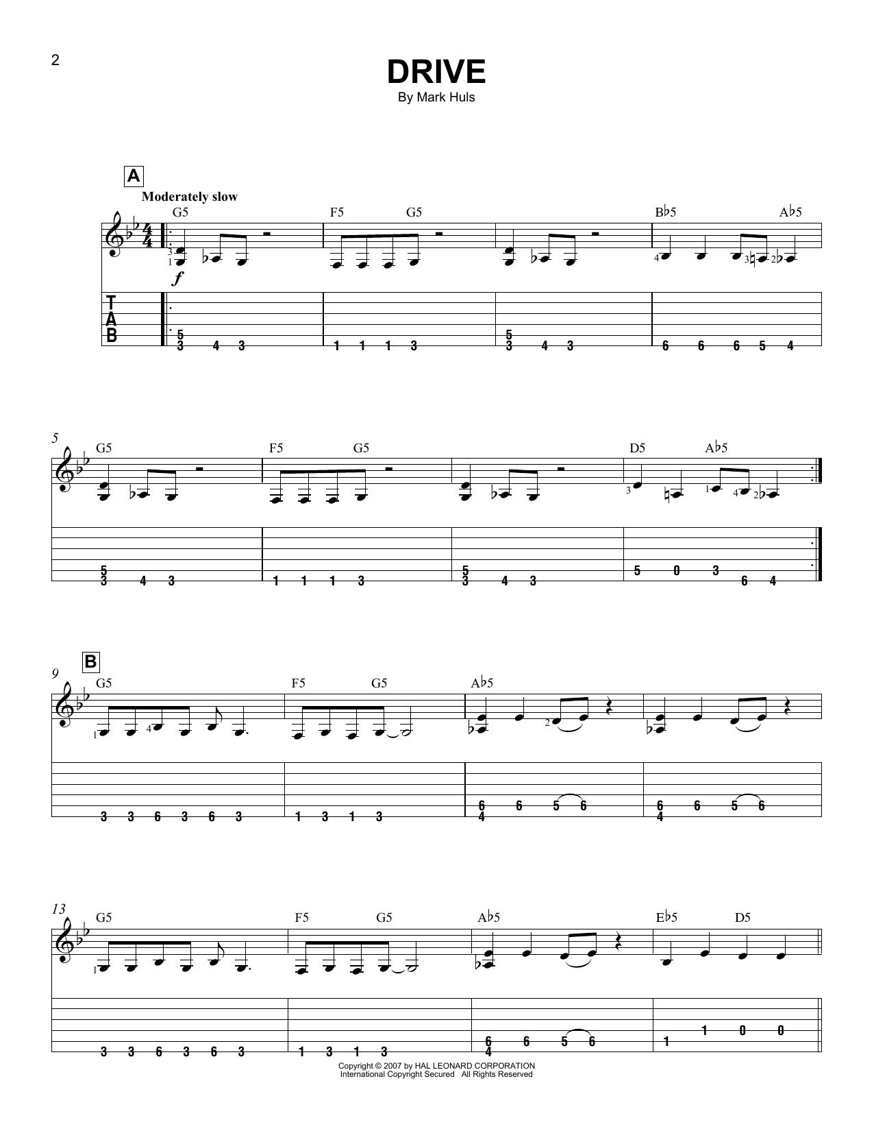 Tablature guitare Drive de Mark Huls - Tablature guitare facile