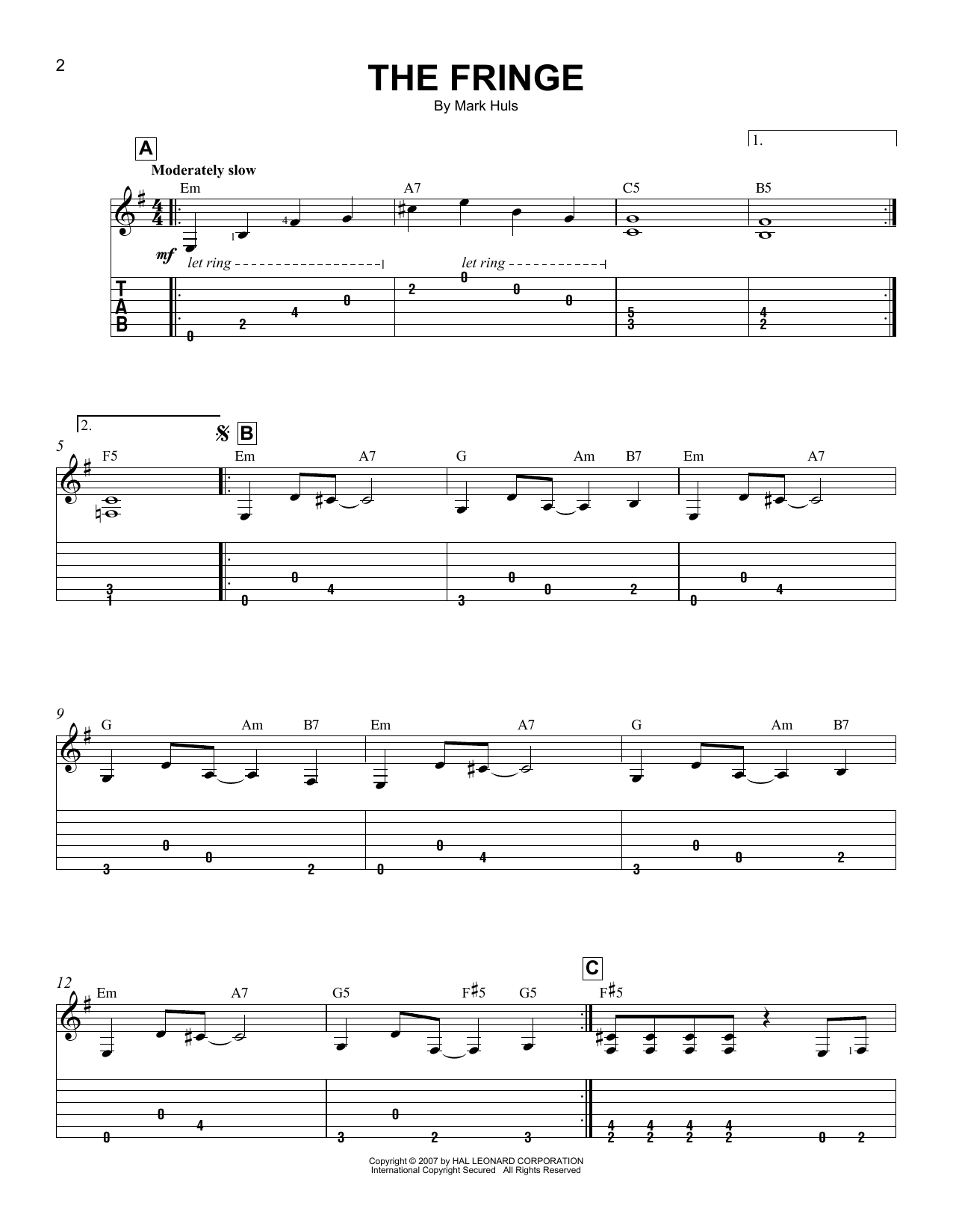 Tablature guitare The Fringe de Mark Huls - Tablature guitare facile