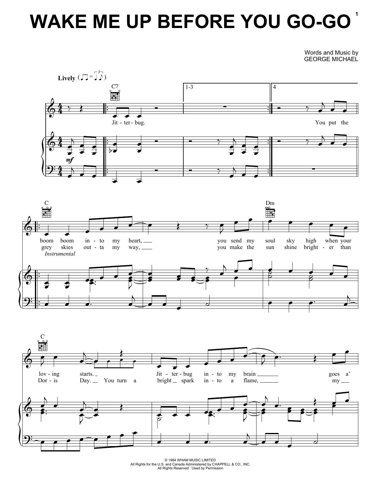 Sheet music digital files to print licensed pianovocalguitar wake me up before you go go hexwebz Choice Image