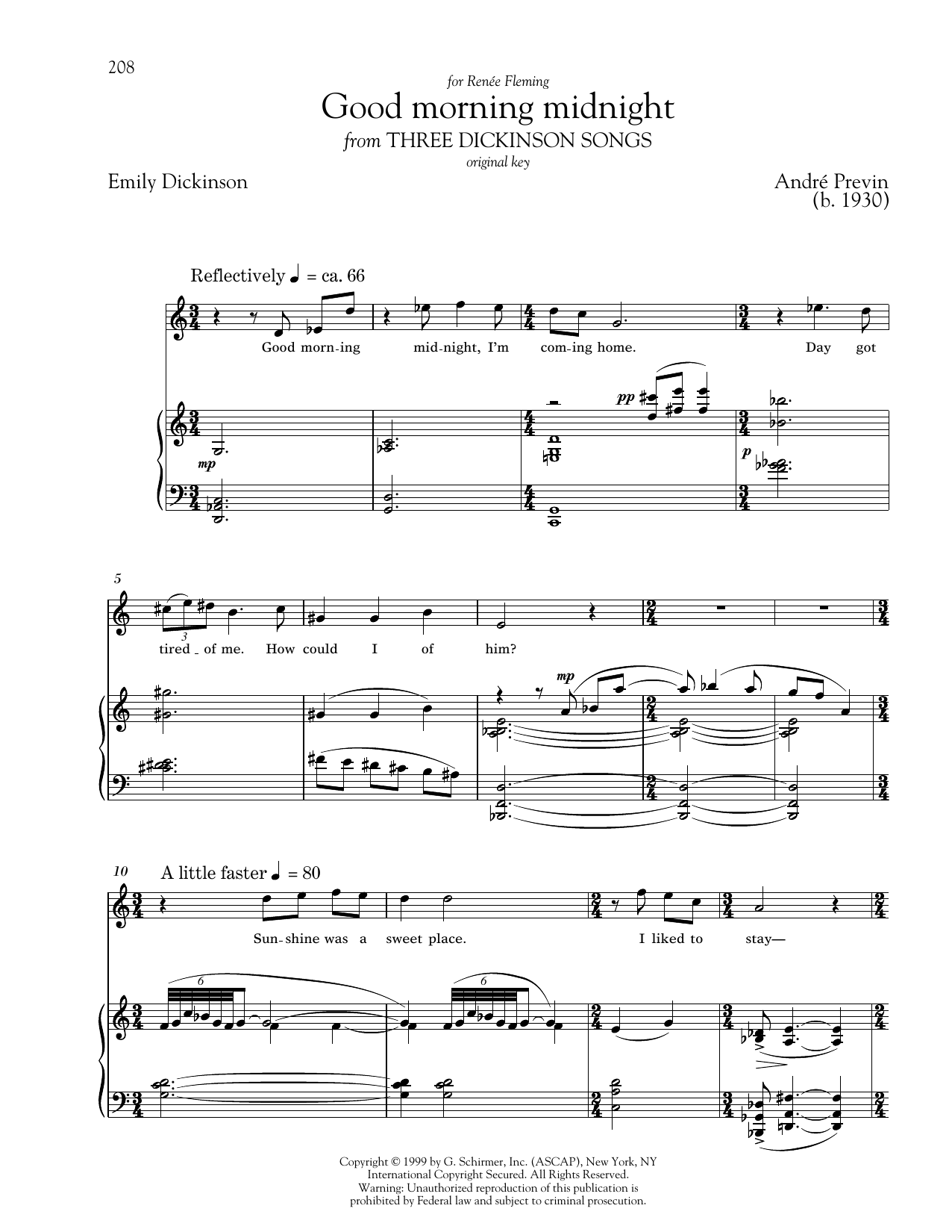 Partition piano Good Morning Midnight de Andre Previn - Piano Voix