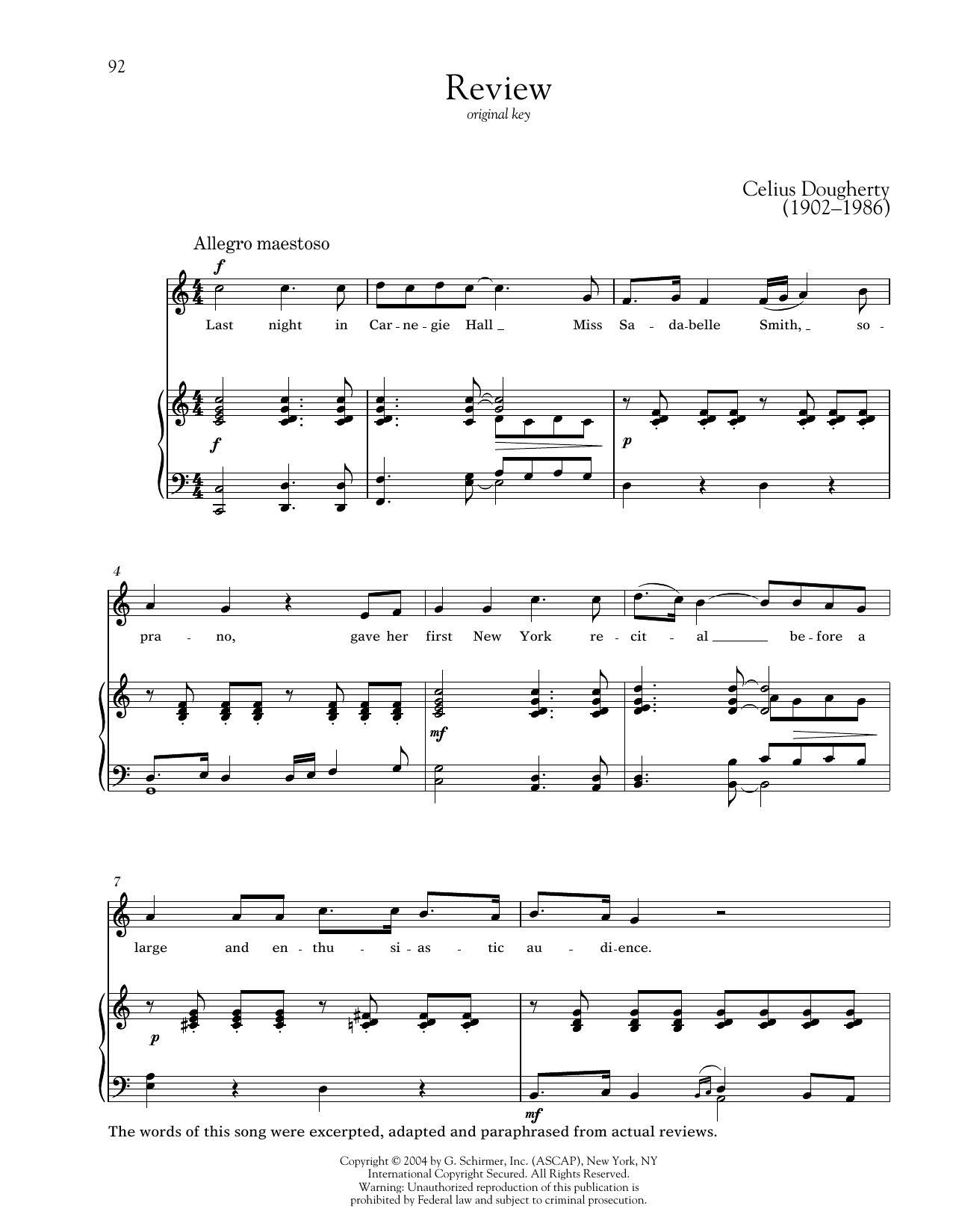 Partition piano Review de Celius Dougherty - Piano Voix