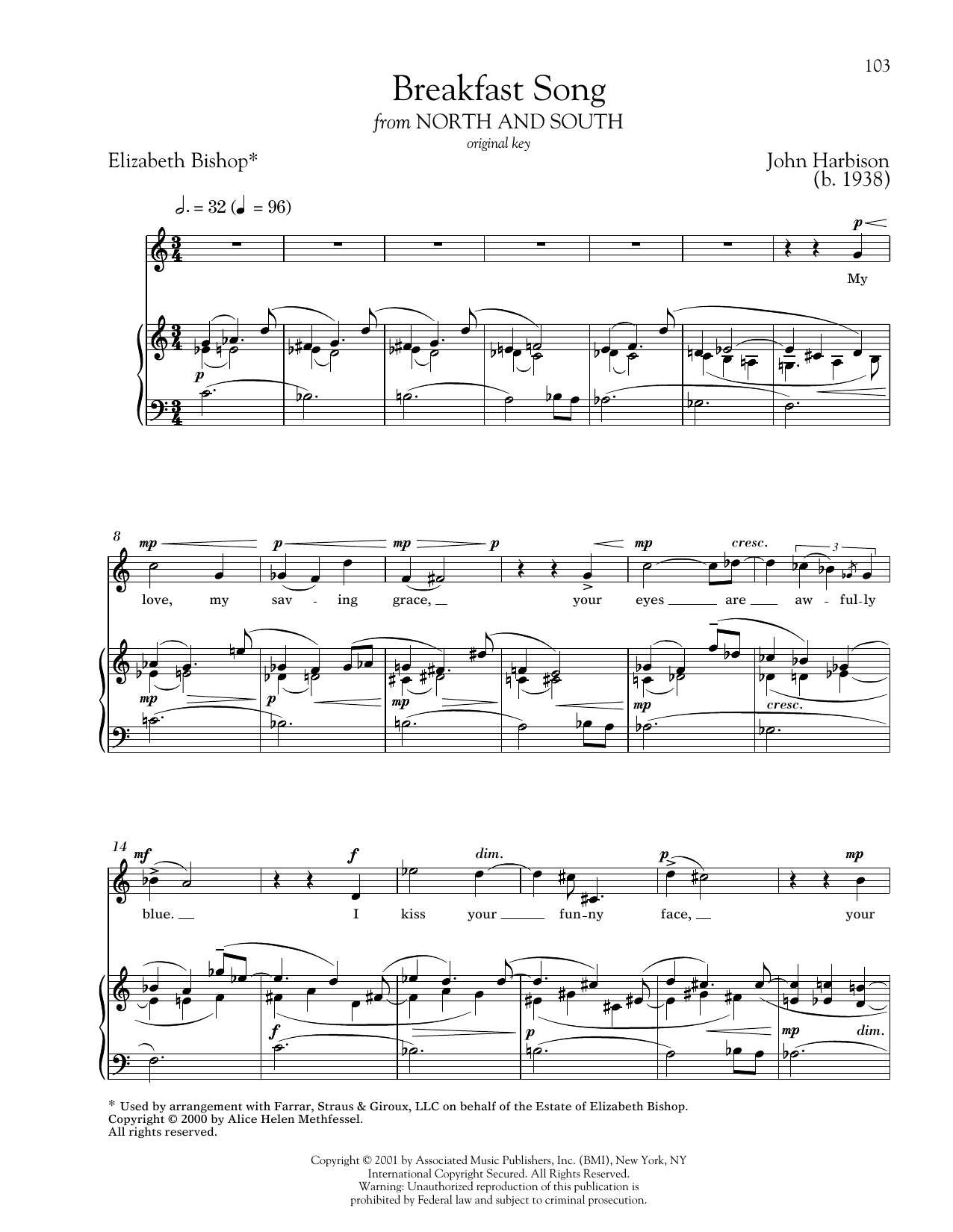 Partition piano Breakfast Song de John Harbison - Piano Voix