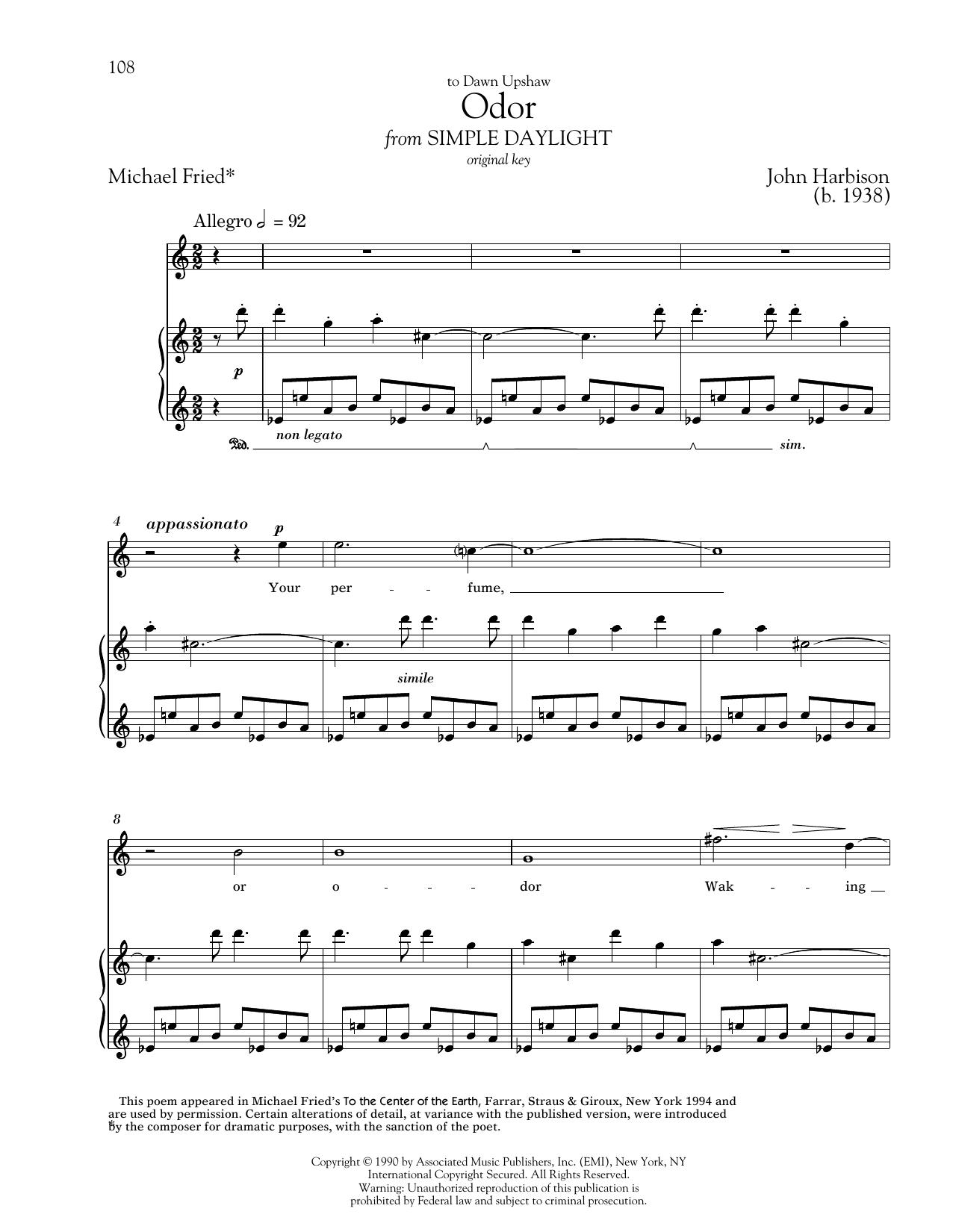Partition piano Odor de Michael Fried - Piano Voix