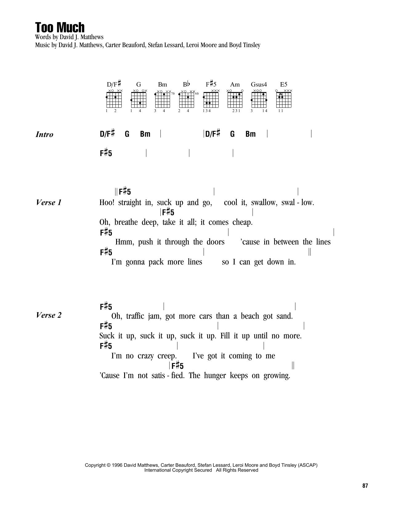 Too Much by Dave Matthews Band - Guitar Chords/Lyrics - Guitar Instructor