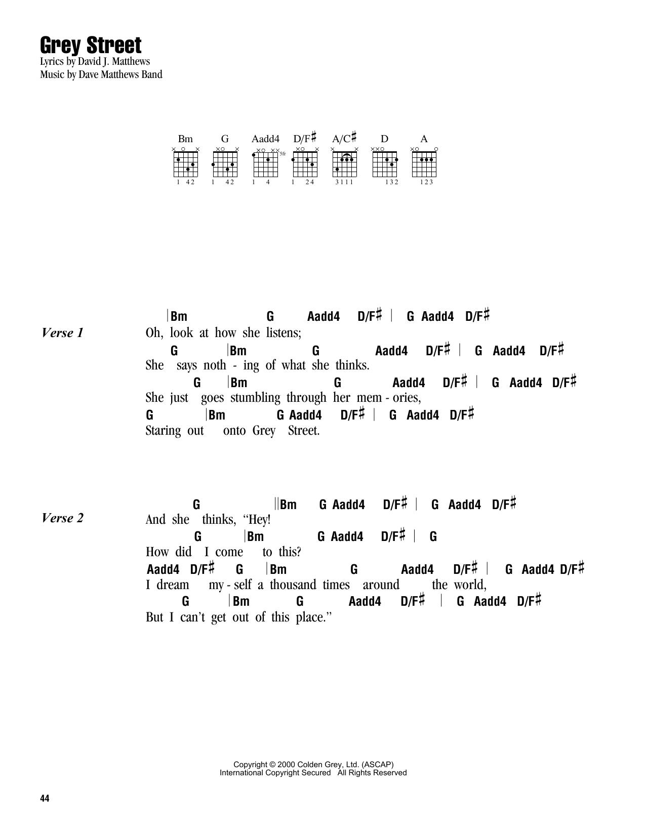 Grey Street by Dave Matthews Band - Guitar Chords/Lyrics - Guitar Instructor