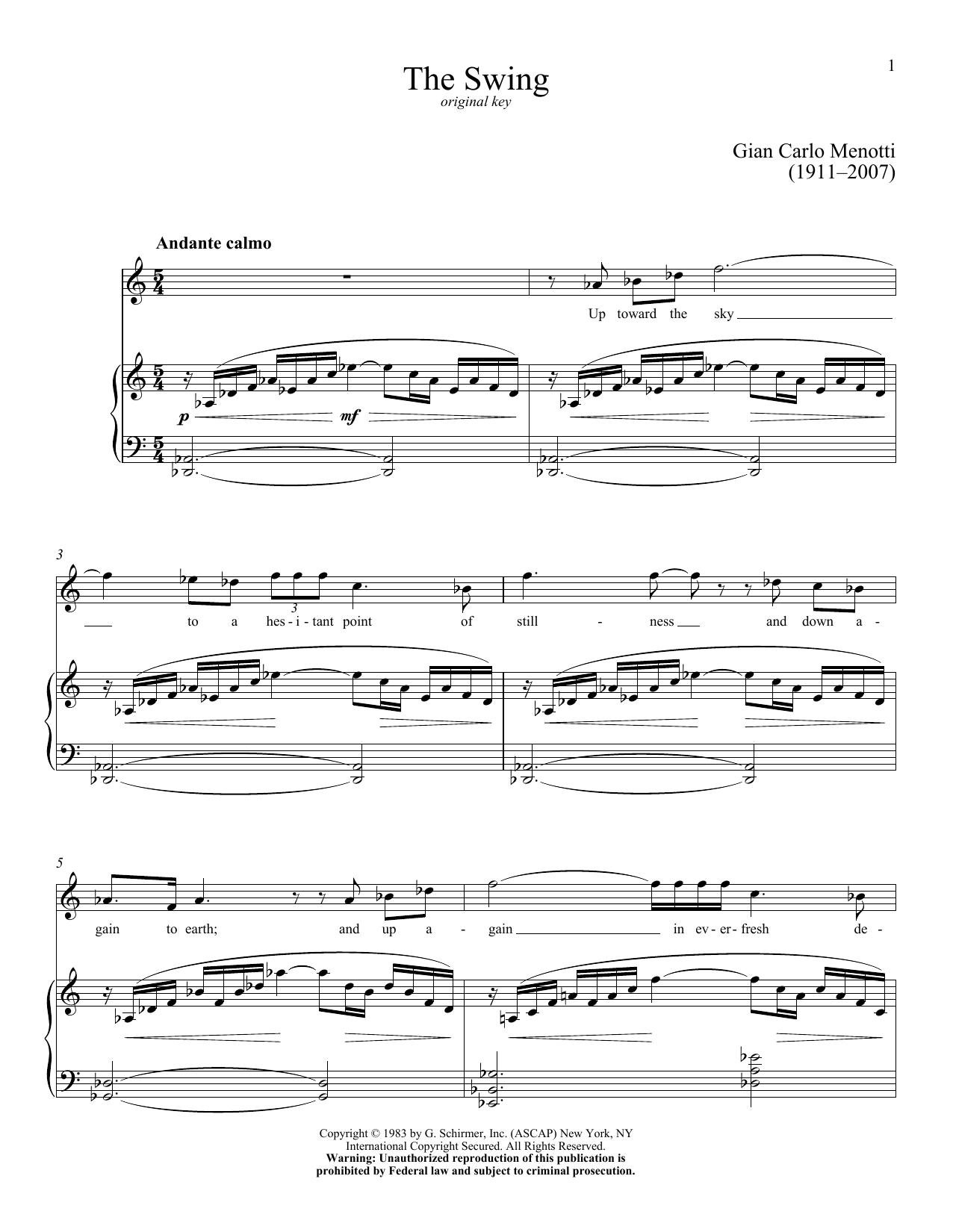 Partition piano The Swing de Gian Carlo Menotti - Piano Voix