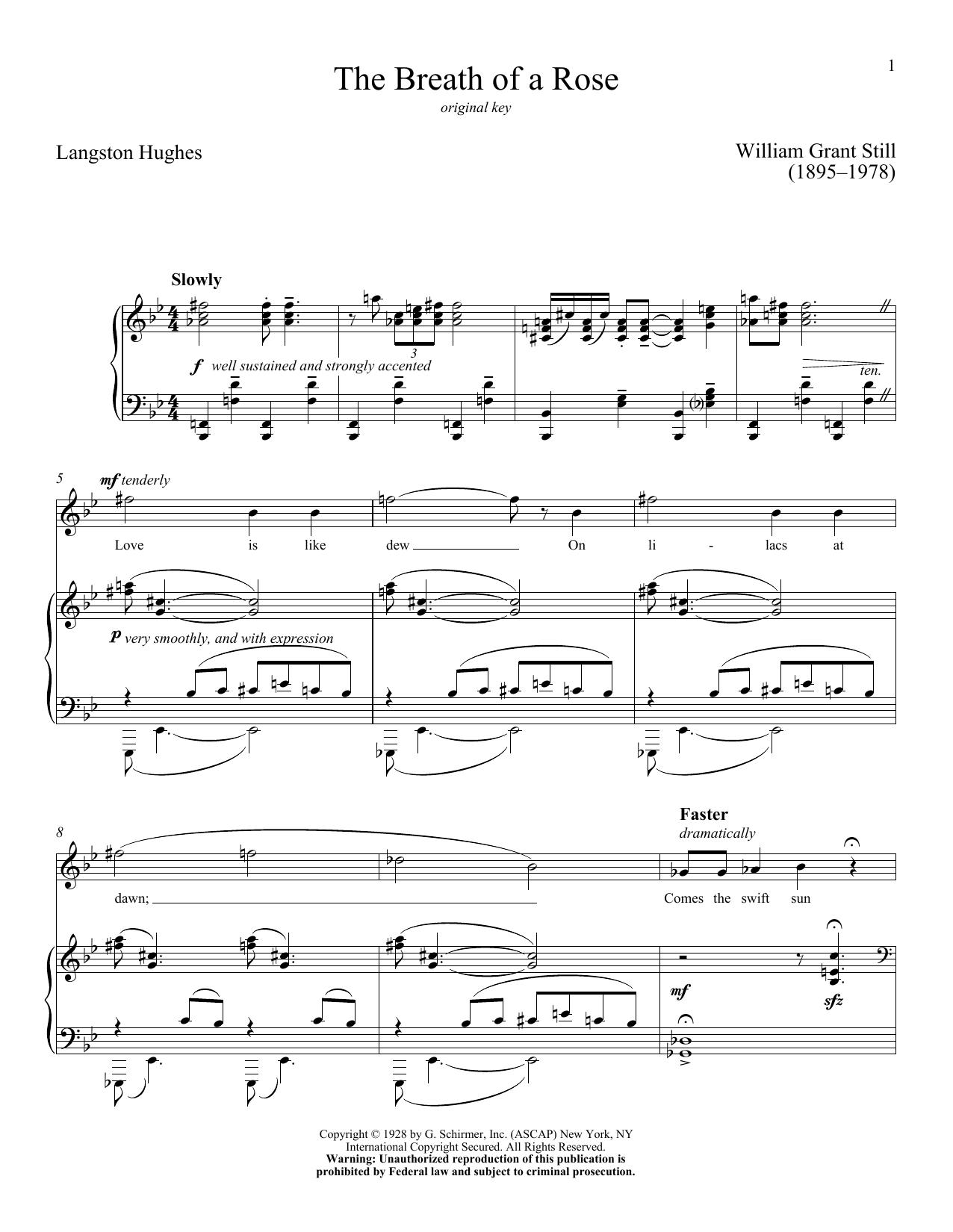 Partition piano The Breath Of A Rose de William Grant Still - Piano Voix