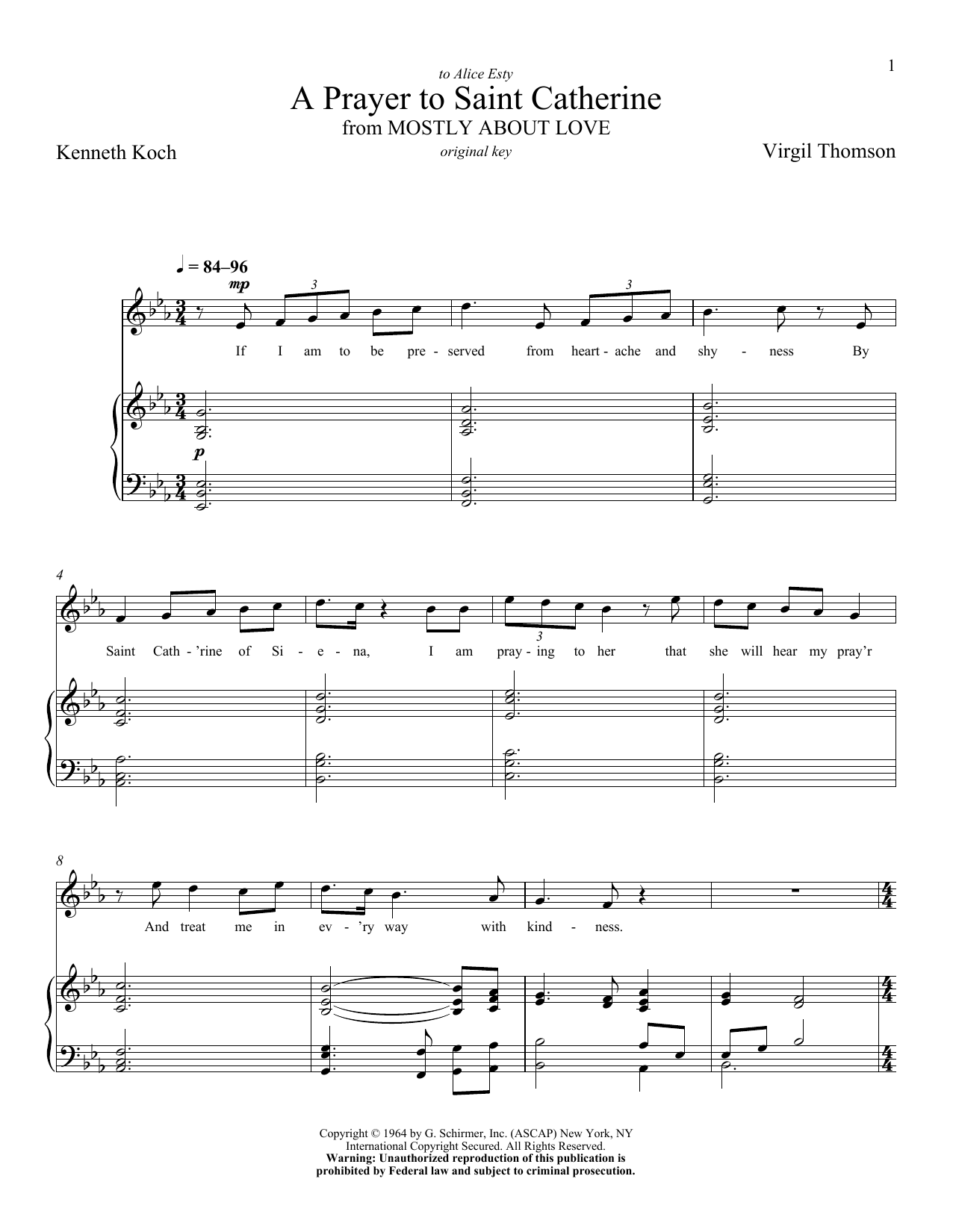 Partition piano A Prayer To Saint Catherine de Virgil Thomson - Piano Voix