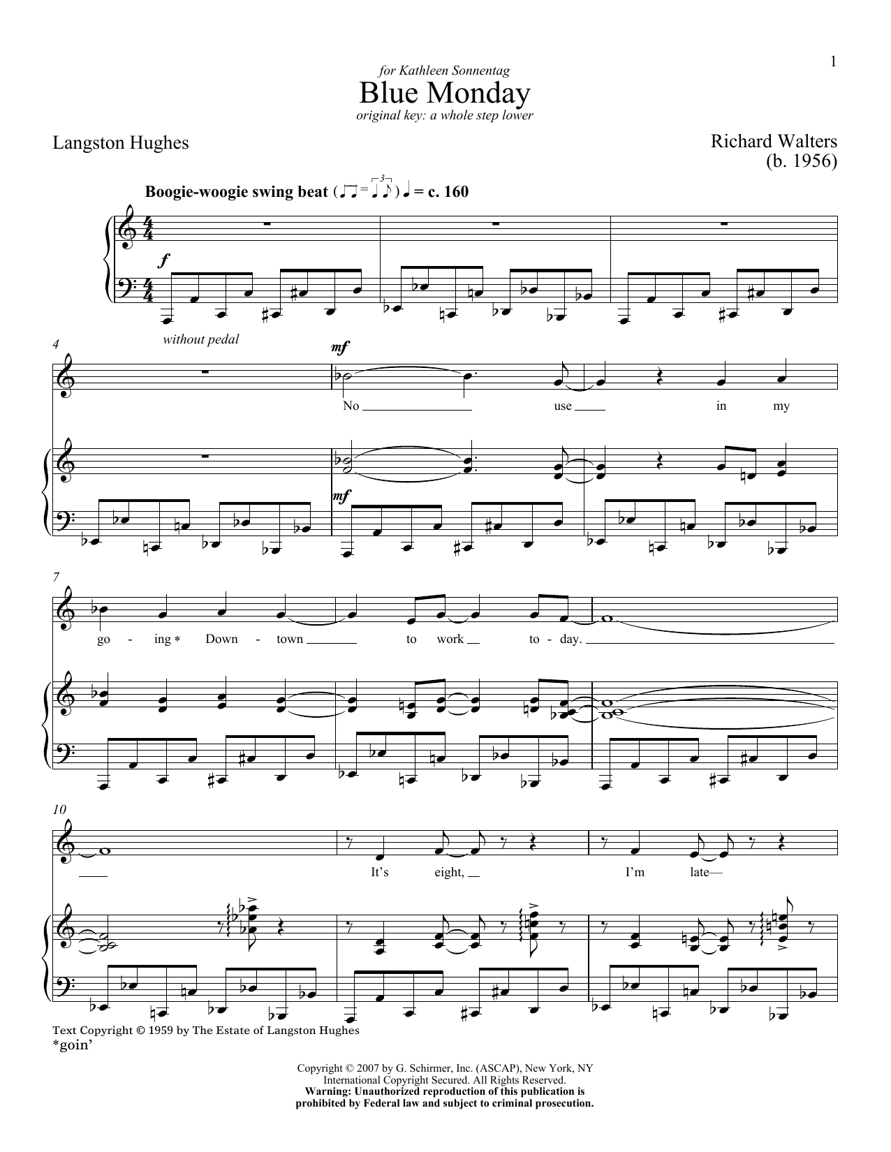Partition piano Blue Monday de Richard Walters - Piano Voix