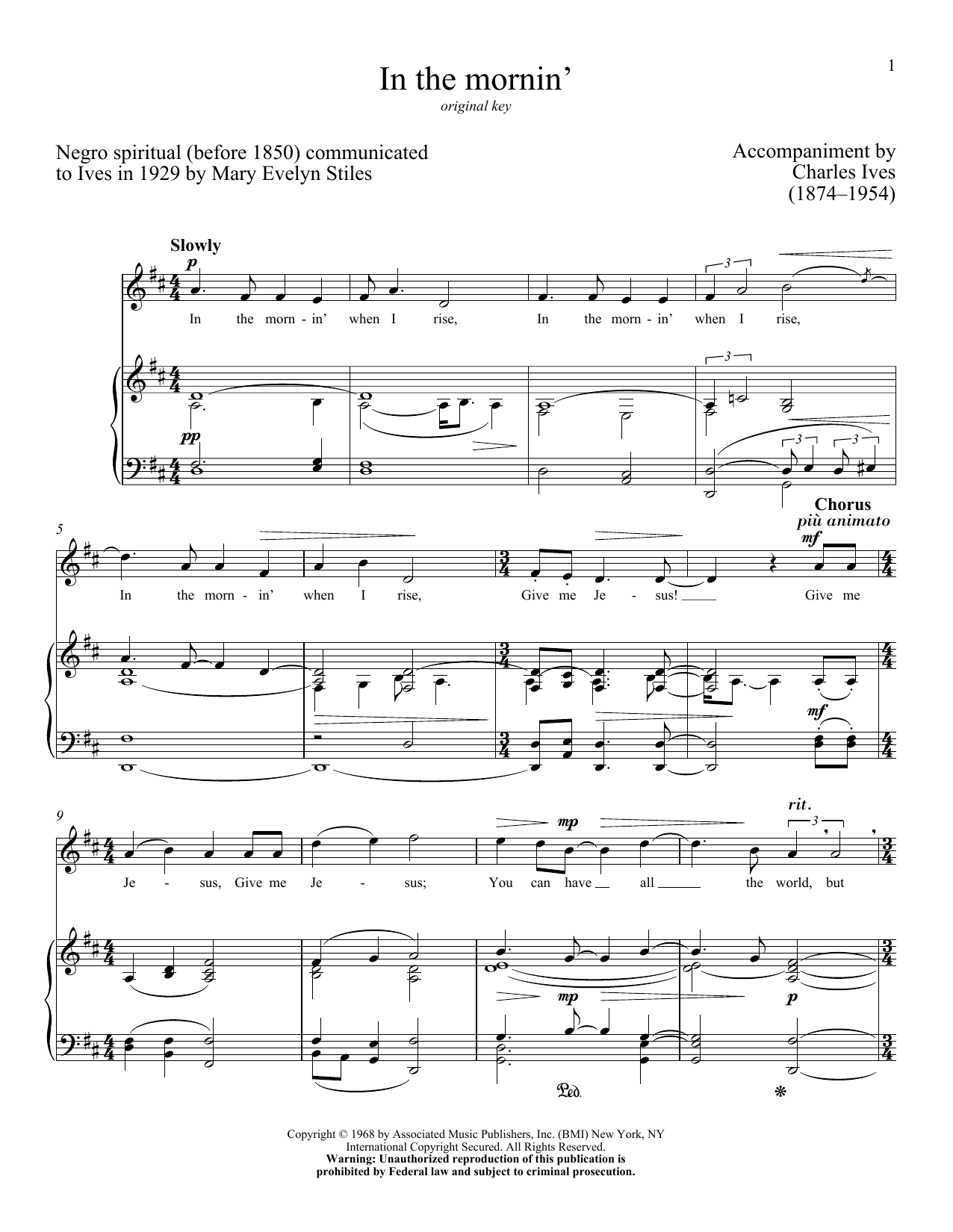 Partition piano In The Mornin' de Charles Ives - Piano Voix