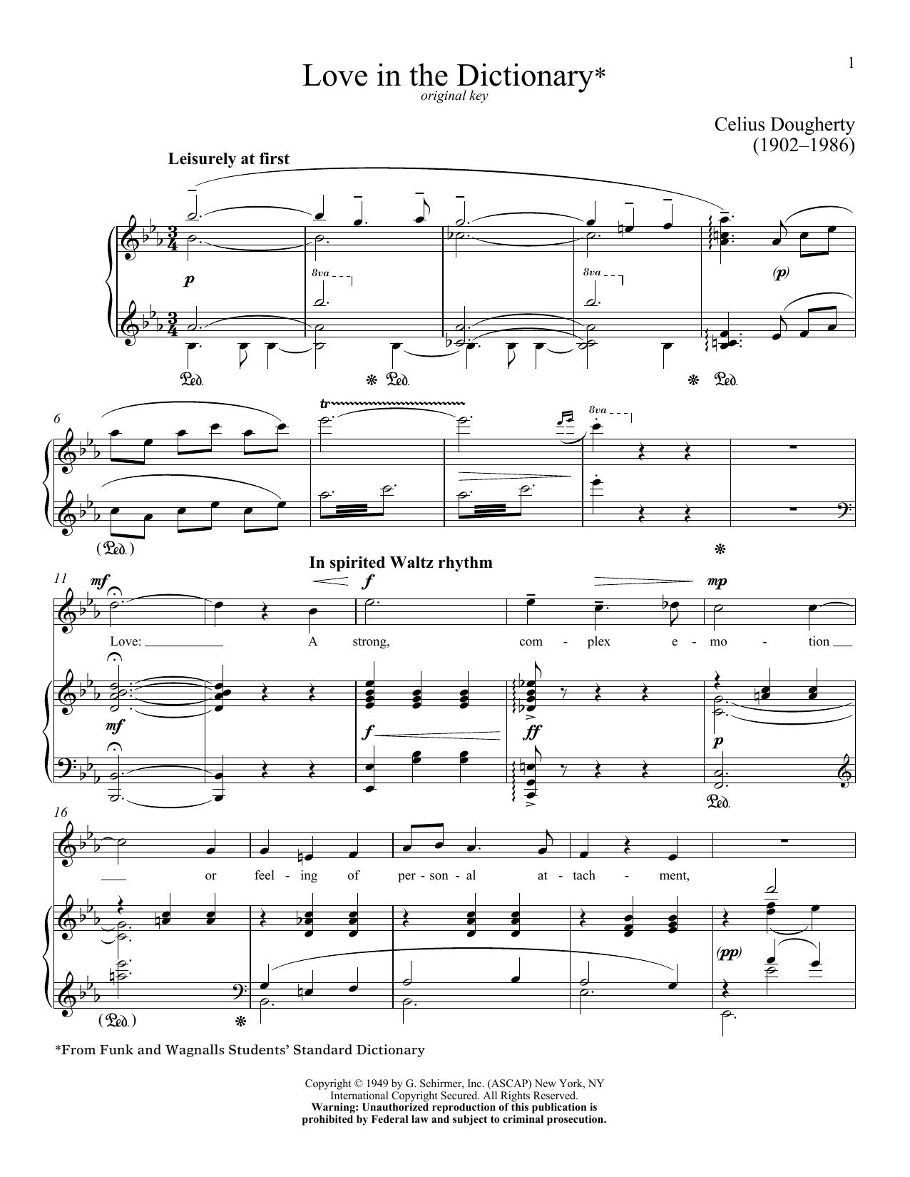 Partition piano Love In The Dictionary de Celius Dougherty - Piano Voix