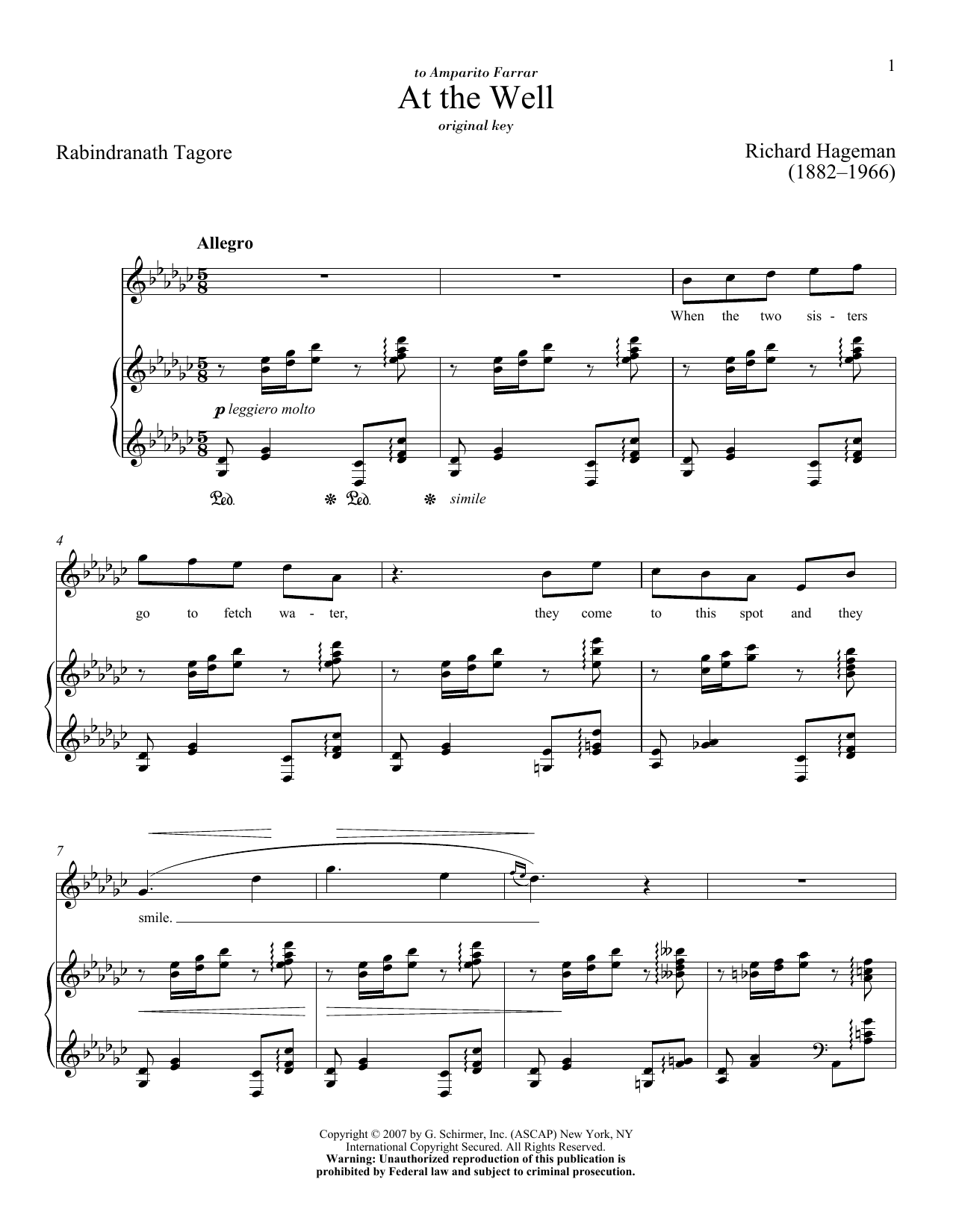 Partition piano At The Well de Richard Hageman - Piano Voix