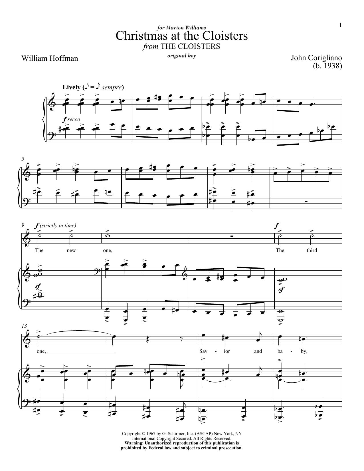 Partition piano Christmas At The Cloisters de John Corigliano - Piano Voix
