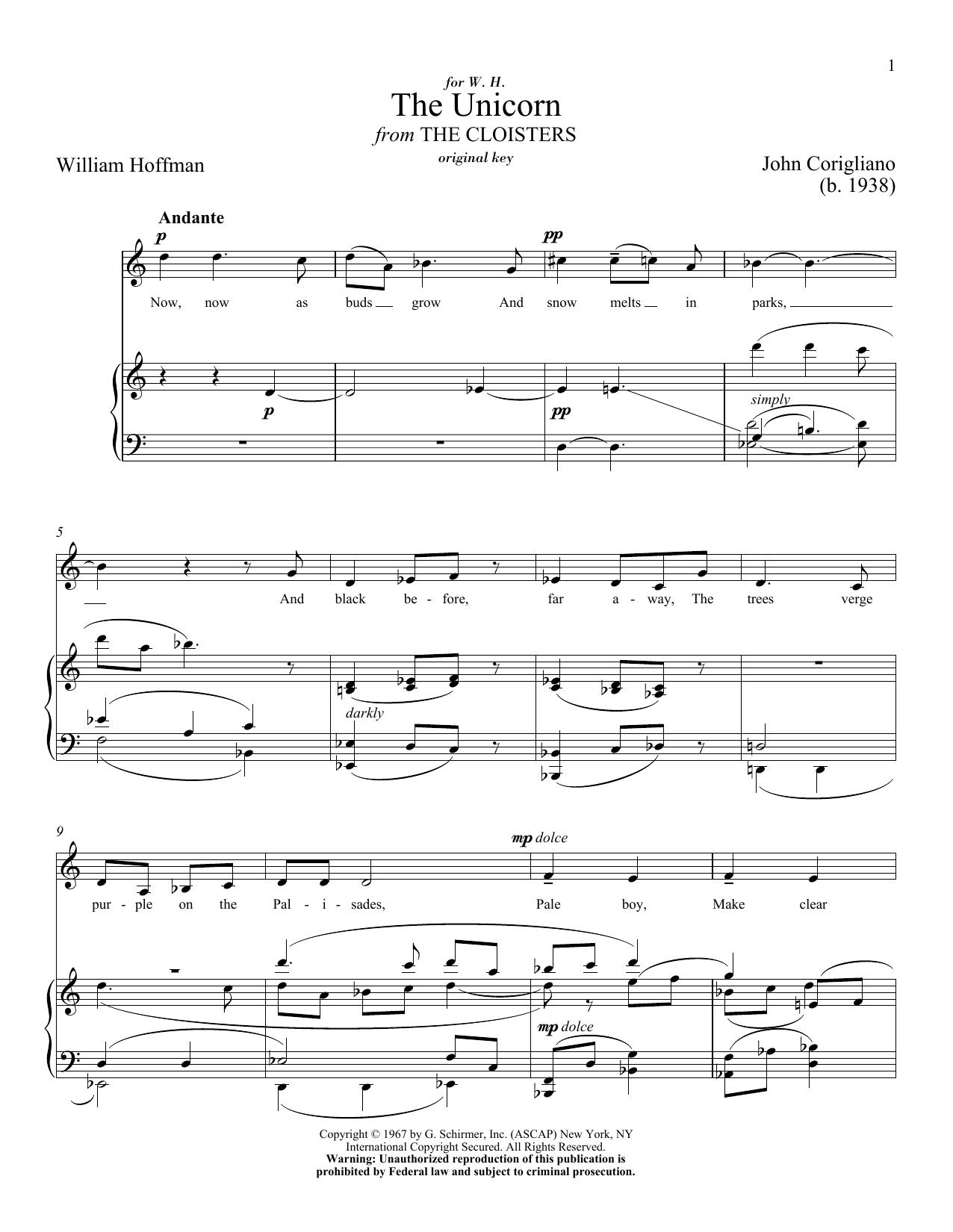 Partition piano The Unicorn de John Corigliano - Piano Voix