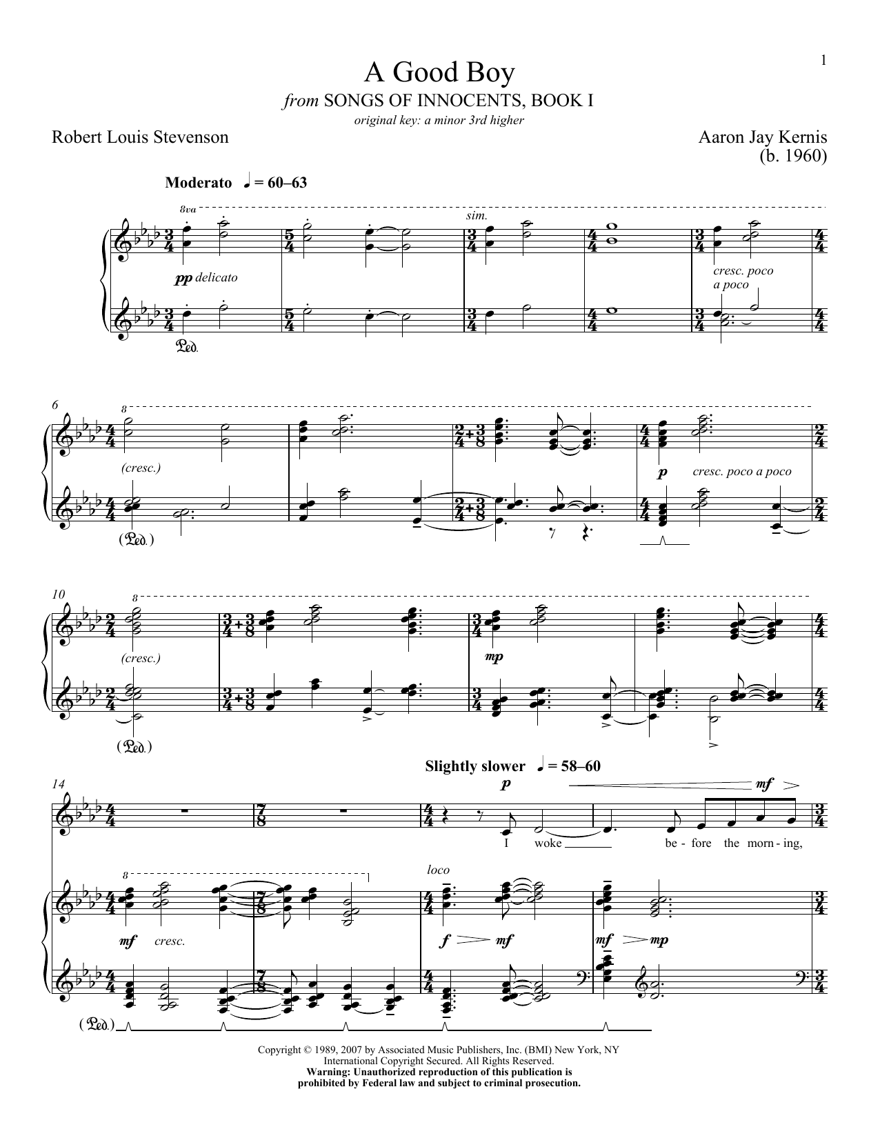 Partition piano A Good Boy de Aaron Jay Kernis - Piano Voix