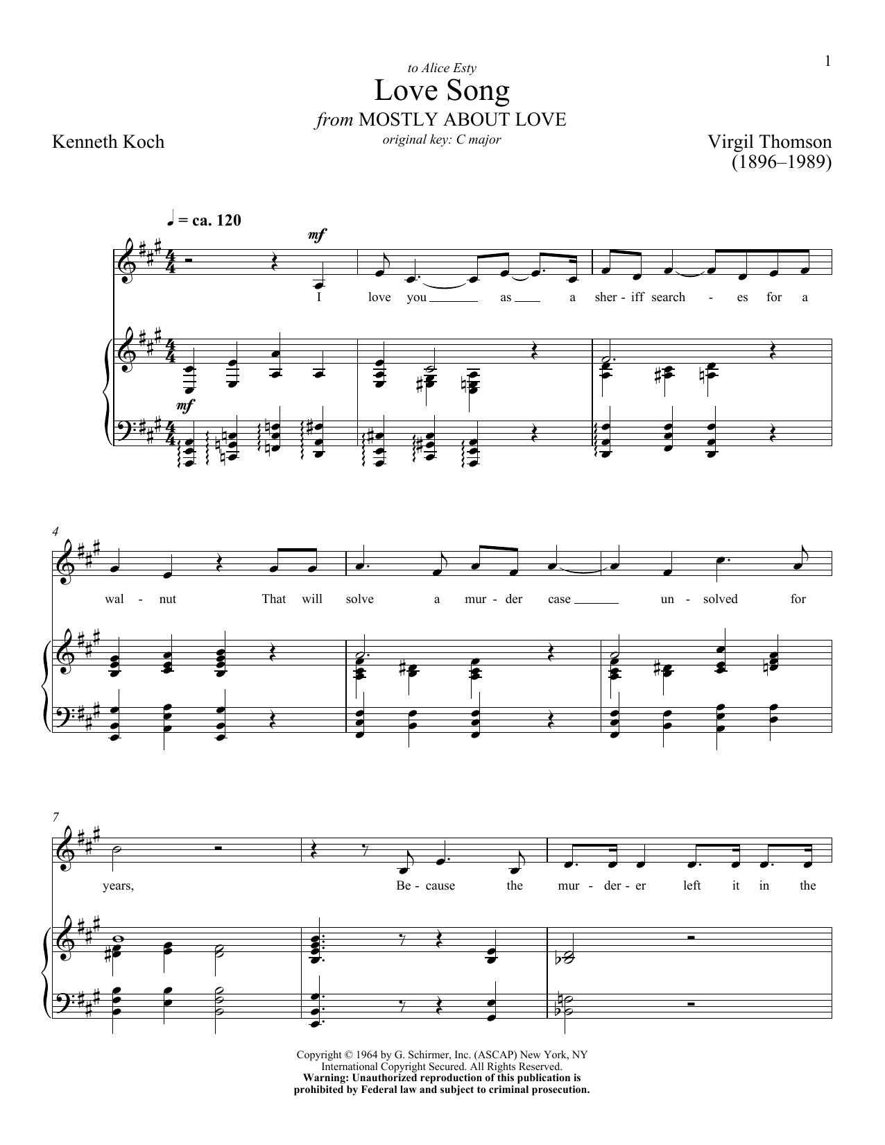 Partition piano Love Song de Virgil Thomson - Piano Voix