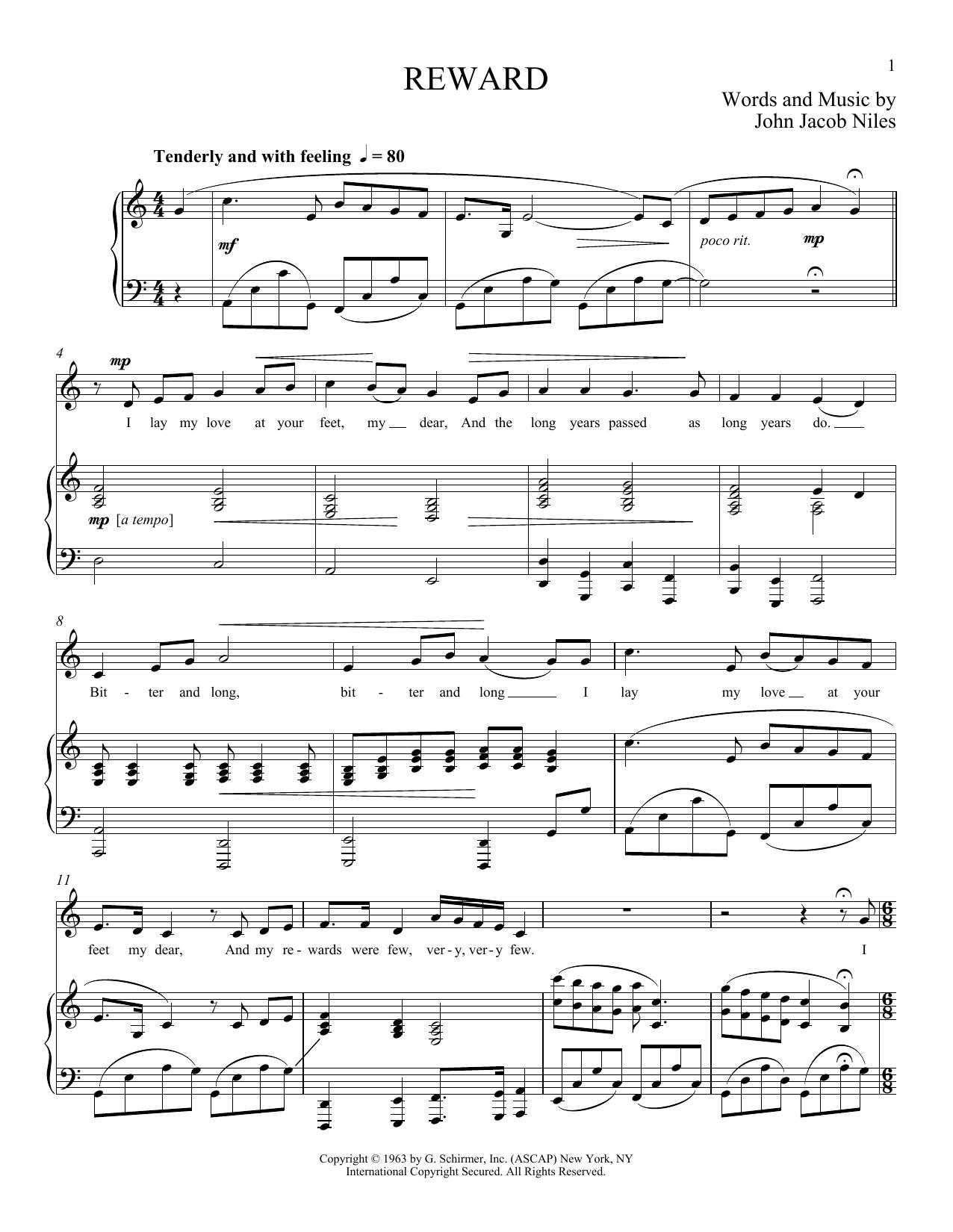 Partition piano Reward de John Jacob Niles - Piano Voix