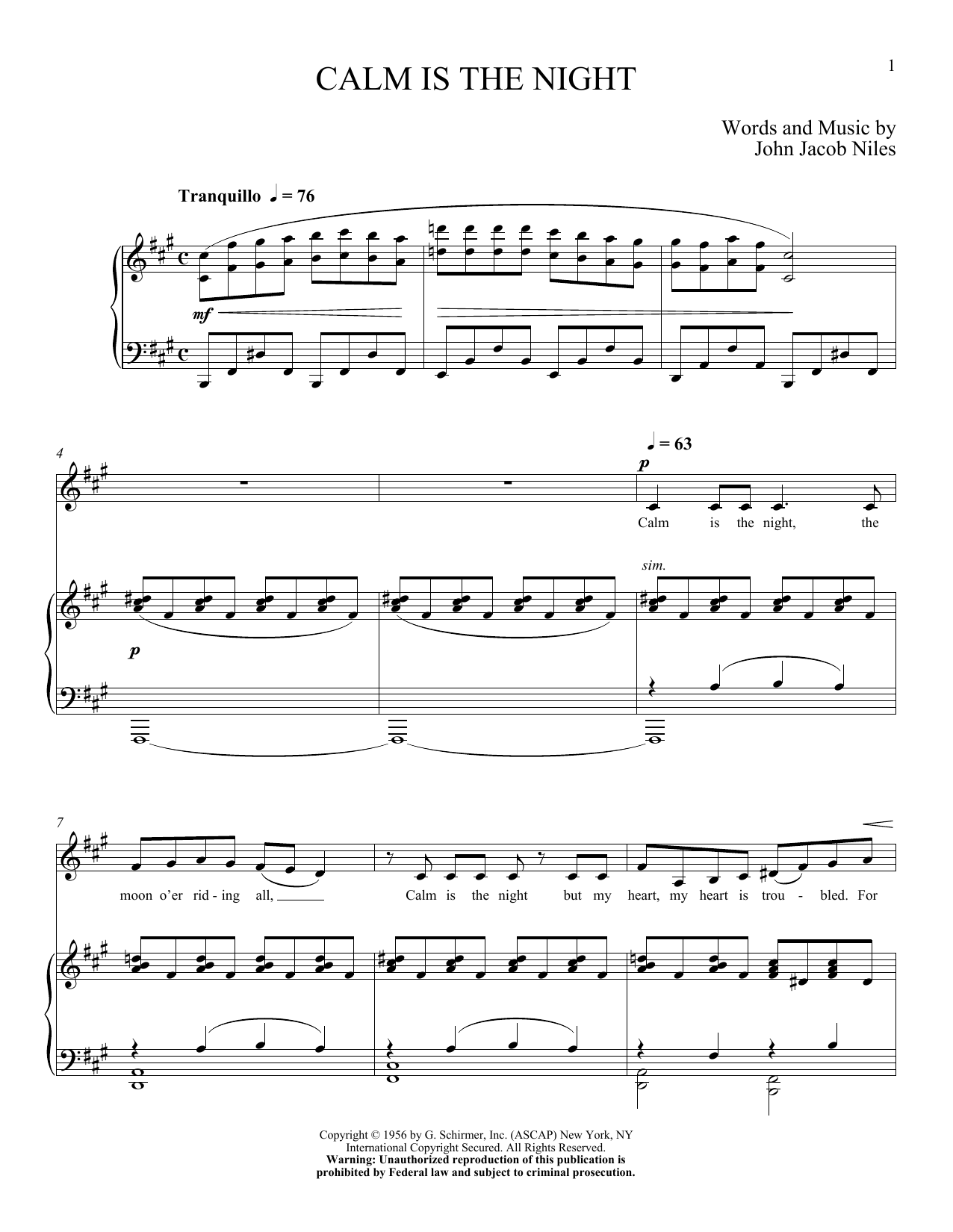 Partition piano Calm Is The Night de John Jacob Niles - Piano Voix