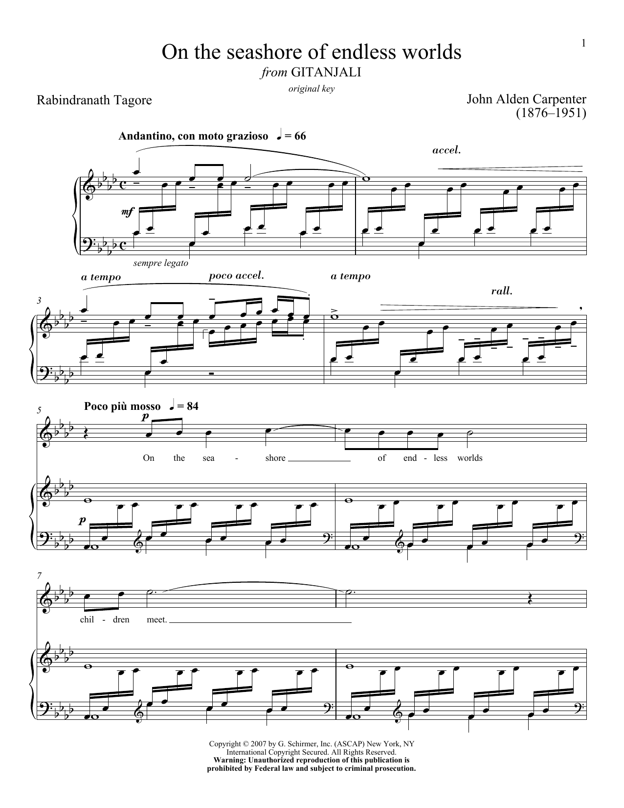 Partition piano On The Seashore Of Endless Worlds de John Alden Carpenter - Piano Voix
