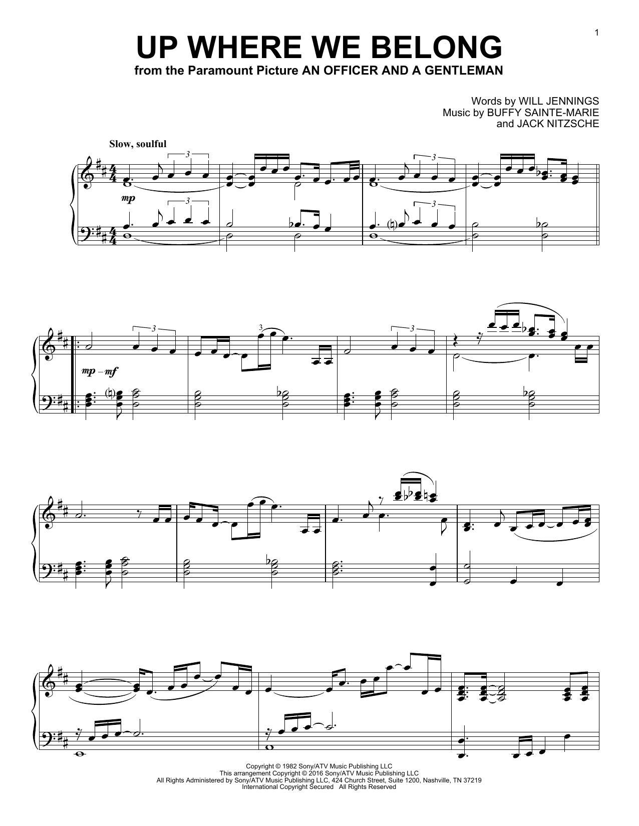 Partition piano Up Where We Belong de Joe Cocker & Jennifer Warnes - Piano Solo