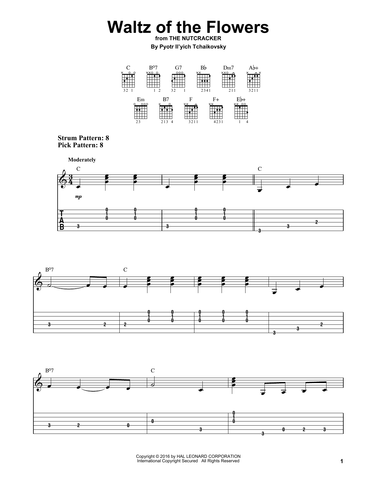 Tablature guitare Waltz Of The Flowers de Pyotr Il'yich Tchaikovsky - Tablature guitare facile